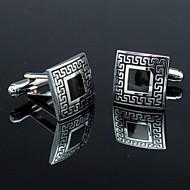 xinclubna®classic fekete és ezüst férfi szögletes mandzsettagomb (1pár)