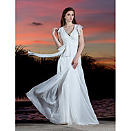 Lanting Bride® 시스 / 칼럼 퍼티트 / 플러스 사이즈 웨딩 드레스 - 클래식&타임레스 어깨 노출 스타일 바닥 길이 V-넥 조젯 와
