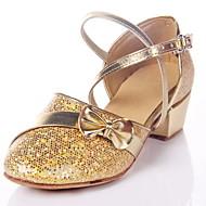 Non Customizable Women's/Kids' Dance Shoes Modern/Ballroom Leatherette Chunky Heel Silver/Gold