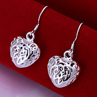 Special Heart Shape Silver Plated Foreign Trade Earring(Silver)(1Pair)