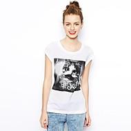 Vrouwen Ronde Kraag Kitty Gedrukte T-shirt