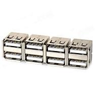 Dual USB Nainen virtalähteet - hopea (4 kpl)