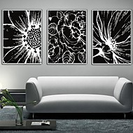 Floral/Botanical Framed Canvas / Framed Set Wall Art,PVC White No Mat With Frame Wall Art