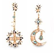 사진 합금 드롭 귀걸이 (1 쌍) 빈티지 (태양과 달 다이아몬드)