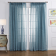 (Two Panels) Neoclassical Elegant Blue Solid  Eco-friendly Sheer Curtain