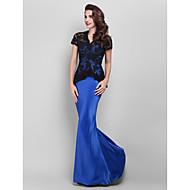 Prom / Formal Evening / Military Ball Dress - Plus Size / Petite Trumpet/Mermaid V-neck Floor-length Lace / Satin