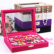 Jewelry Boxes Pearl Flannelette Glass Geometric Rose Coffee Black Purple Gray
