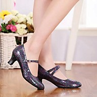 Non Customizable Women's Dance Shoes Latin/Modern/Performance Sparkling Glitter/Paillette Low Heel Black/Silver