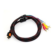 Black 1.5M HDMI Male naar 3 RCA Male Extension Cable
