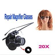 ZW-9882-2 silmälasien tyyliin yhden 20X suurennuslasi valkoinen LED-valo (2 x CR1620)