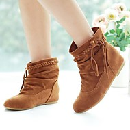 Women's Fall Winter Fashion Boots Leatherette Office & Career Dress Casual Flat Heel Black Brown Yellow Beige