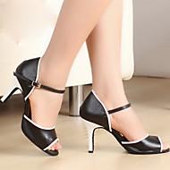 Mulheres simples PU Alto tira no tornozelo de dança de salão latino Sandálias Sapatos de dança