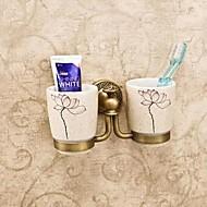 מחזיק למברשת שיניים פליז ענתיקה התקנה על הקיר 20*10*10cm(7.6*5*5inch) פליז / קרמי ענתיקה