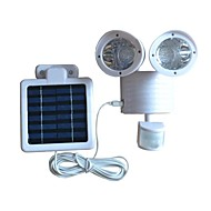 22-LED Motion Sensor Security Flood Solar Light White Color Body Double Head