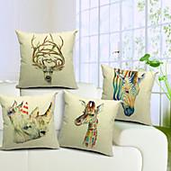set om 4 färgglada djurtryck bomull / linne dekorativa örngott