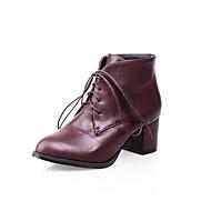 Черный / Коричневый / Красный - Женская обувь - На каждый день - Искусственная кожа - На толстом каблуке - Ботинки / Модная обувь -