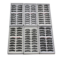60PCS 6 Mixed Styles Natural Handmade Black Longer Thicker Fiber False Eyelashes
