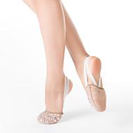 נעל בלט חצי בד עם סולית יהלומים מלאכותיים וזמש עור החוצה