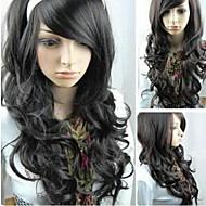 lunghi capelli neri ricci nuovo gioco di ruolo delle donne parrucche moda
