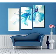 Personalized Canvas Print  Stretched Canvas Art Blue flowers  30x 60cm   40x80cm  50x100cm Gallery Wrapped Art  Set of 3
