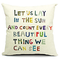 Positive Slogan Cotton/Linen Decorative Pillow Cover