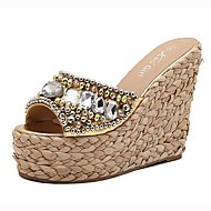 Women's Shoes Peep Toe Wedge Heel Synthetic Sandals with Rhinestone Shoes More Colors available