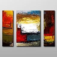 Maalattu AbstraktiClassic 3 paneeli Kanvas Hang-Painted öljymaalaus For Kodinsisustus