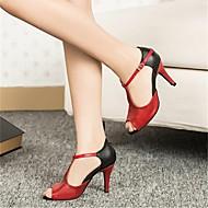 Non Customizable Women's Dance Shoes Latin Leather Stiletto Heel Black/Red