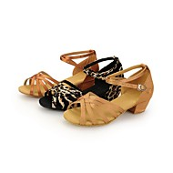 Non Customizable Kids' Dance Shoes Latin Satin Low Heel Brown/Leopard/Other