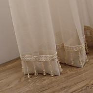 (Two Panels) Graceful Beige Solid Sheer Curtain With Pendants