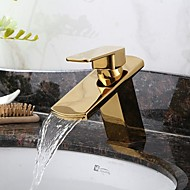 Antique Widespread Waterfall with  Ceramic Valve Single Handle One Hole for  Ti-PVD , Bathroom Sink Faucet