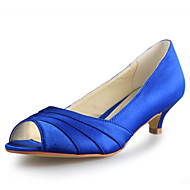 Women's Spring / Summer / Fall / Winter Peep Toe Satin Wedding Kitten HeelBlack / Blue / Pink / Purple / Red / White / Silver / Gold /