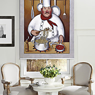 Oil Painting Style Cartoon Noodle Chef Roller Shade