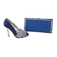 Women's Shoes Peep Toe Stiletto Heel Satin Pumps Shoes Matching Satin Clutches Bag