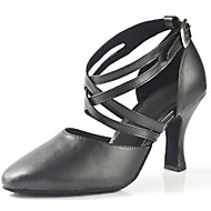 Non Customizable Women's Dance Shoes Modern Leather Chunky Heel Black