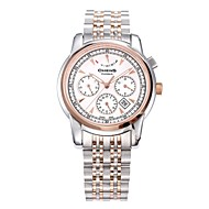 Chens® Men's  Rose Gold Round Plate Water Resistance Stainless Steel Strap  Sapphire White Dial Watch
