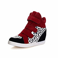 Women's Spring / Summer / Fall / Winter Wedges / Closed Toe Leatherette Outdoor / Casual Wedge Heel Split Joint / Magic Tape Black / Red
