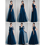 Vestido de Madrinha - Tinta Azul Linha-A Longo Tule