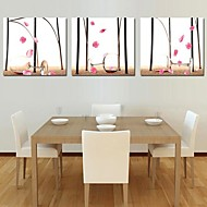 Stretched Canvas Print Art Still Life Red Wine Glass And The Fallen Petal Set of 3
