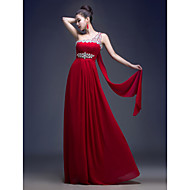 Formal Evening Dress - Burgundy A-line One Shoulder Floor-length Georgette