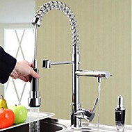 Contemporary Pull-out/­Pull-down Deck Mounted Pullout Spray with  Ceramic Valve Single Handle One Hole for  Chrome , Kitchen faucet