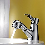 Contemporary Centerset Pullout Spray with  Ceramic Valve Single Handle One Hole for  Chrome , Bathroom Sink Faucet