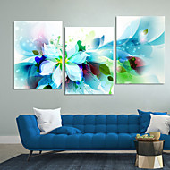 Canvas Set of 3 Modern Abstract Blue Flowers Stretched Canvas Print Ready to Hang