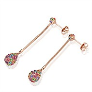 Fashion Bead-Drop Rose-Gold Rose Gold-Plated Drop Earrings(Rose-Gold)(1Pair)