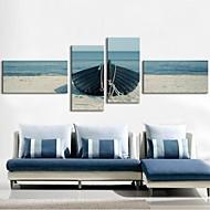 Canvastaulu art rannalla veneen setti 4
