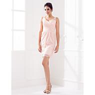 Short/Mini Lace Bridesmaid Dress - Pearl Pink Plus Sizes / Petite Sheath/Column Queen Anne