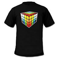 mensen oplichten LED T-shirt van de Rubik's Cube patroon van geluid en muziek equalizer voor de partij bar raver