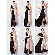 프롬 / 포멀 이브닝 / 밀리터리 볼 드레스 - 컬러 블럭 시스 / 칼럼 종아리 길이 니트 와