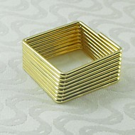 vierkante gouden zilveren servetring, metaal, 4,5 cm, set van 12