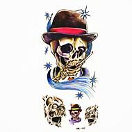 hueso del cráneo a prueba de agua tatuaje temporal molde muestra pegatina tatuajes para el arte corporal (18.5cm * 8.5cm)